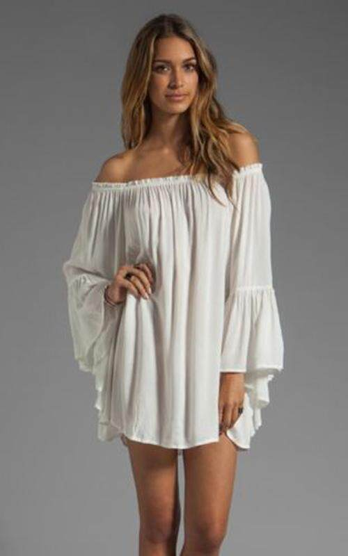 Yohanne Women Summer Casual Chiffon Long Sleeve Off Shoulder Beach Mini Top Dress - intl