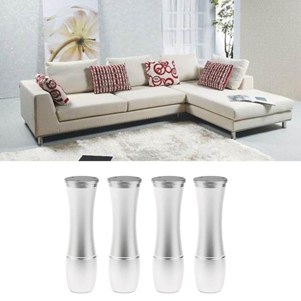 Fityle 4pcs Solid Metal Vase Shape Adjustable Furniture Leg Sofa Table Plith Silver
