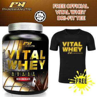 Whey Protein Halal - Vital Whey 2kg/4.41lbs, 100% Whey Isolate With 24g Protein, 67 Servings - Fast Muscle Recovery (Chocolate Milkshake) + FREE Official Vital Whey Dry Fit T Shirt (Black)
