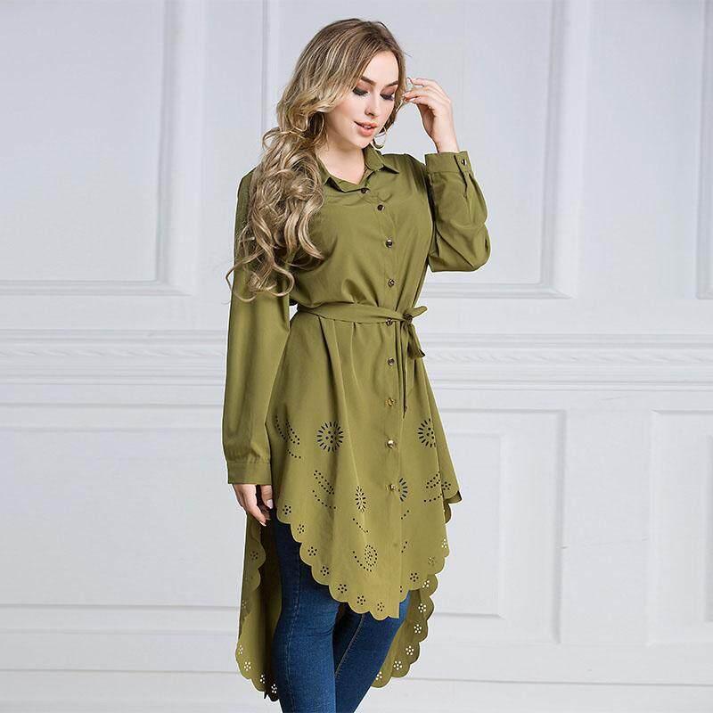 65c3e18c4cb246 Amart Women s Ladies Large size Long Sleeve Shirt Hollow Top Slim Fashion  Casual Blouse Stylish Muslimah