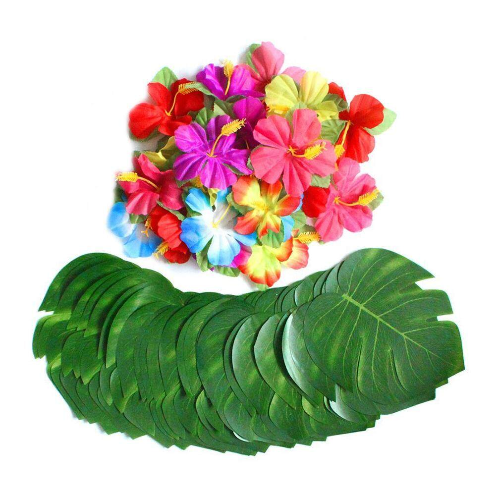 Fake flowers and plants for sale artificial flowers and plants 60 pcs tropical party decoration supplies 8 inch tropical palm monstera leaves and hibiscus flowers izmirmasajfo