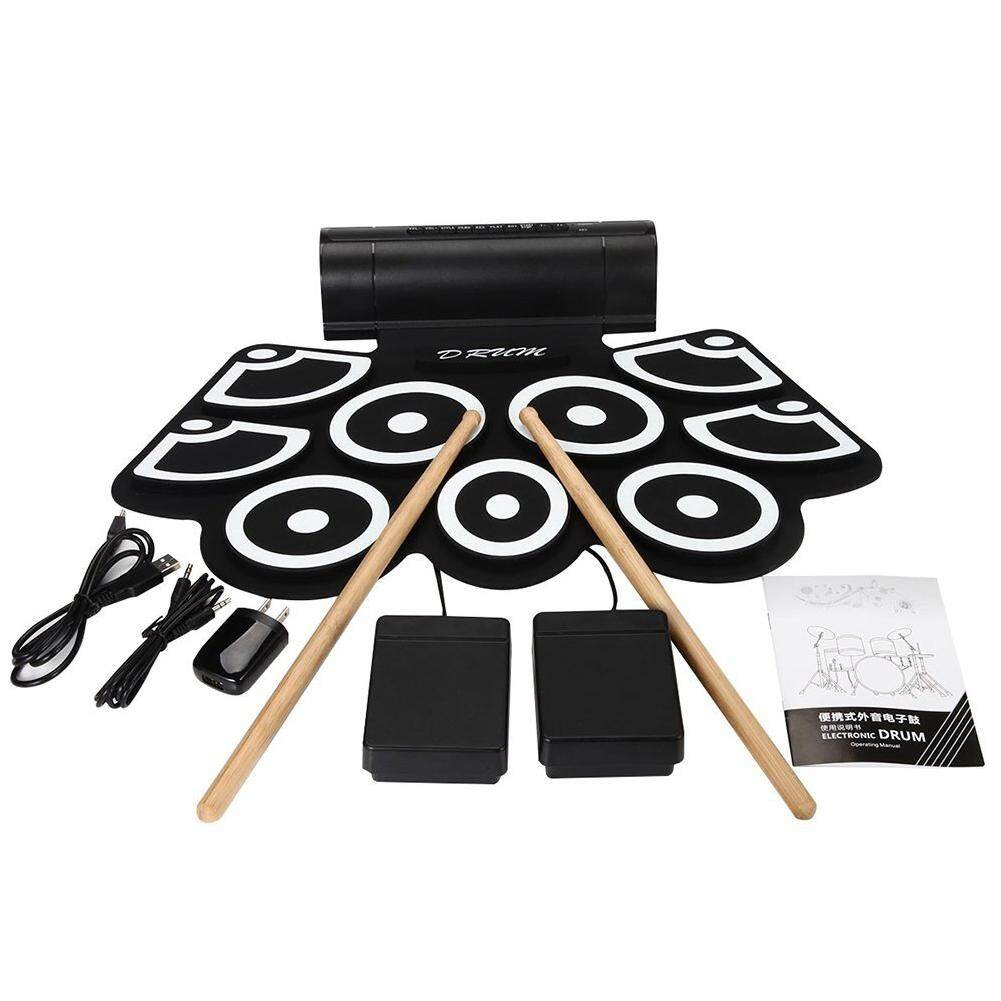 yunmiao Portable Roll-Up Foldable Electronic Drum Kit with USB Cable Foot Pedals