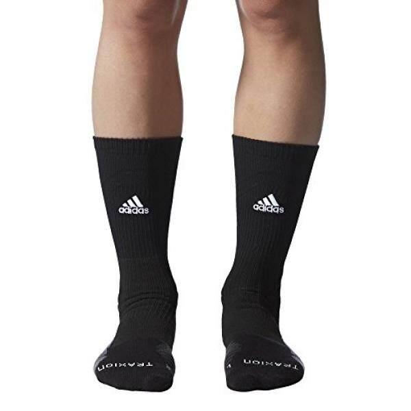 adidas Traxion Menace Basketball/Football Crew Socks, Black/White/Onix/Dark Grey, Large - intl