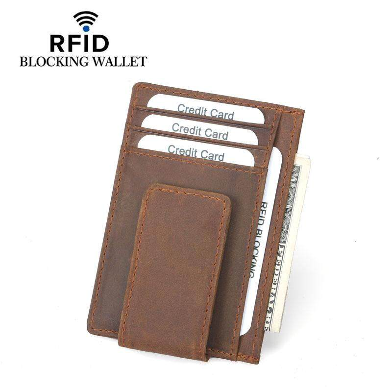 Men card holders buy men card holders at best price in malaysia rfid blocking crazy horse cowhide leather credit card caseholder id case with magnetic reheart Gallery