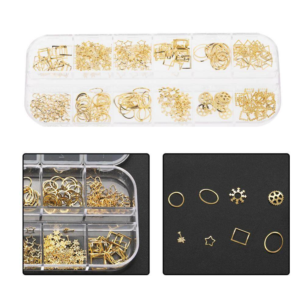 12 Grid Mixed Style Nail Art Decoration Metal Shell Star Studs Chain Nail DIY Accessories ...