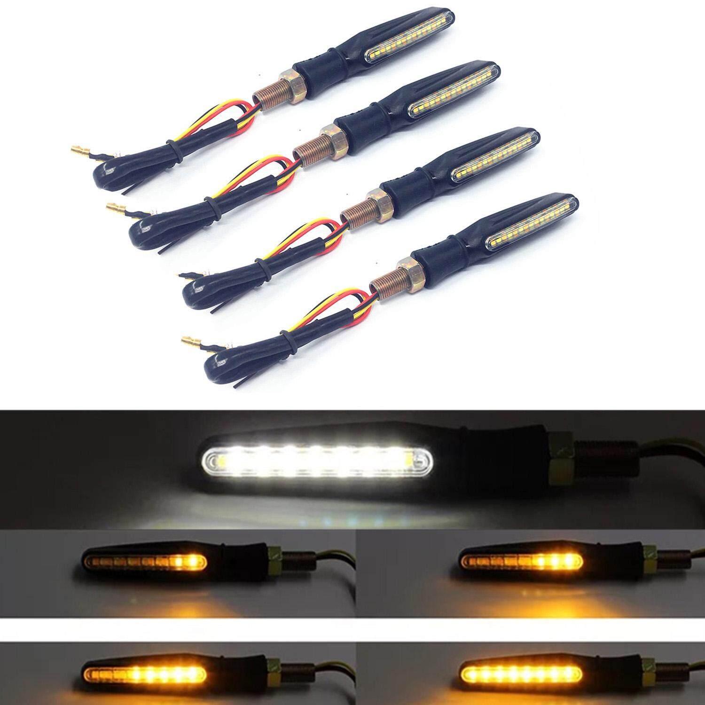 Gracekarin Online 1 Pair Water Flowing Motorcycle 15 LED Turn Signal Indicator Lights