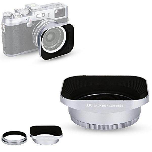 JJC Silver Reversible Metal Lens Hood and 49mm Filter Adapter Ring for Fuji Fujifilm FinePix X100F, X100T, X100S, X100 Digital Camera