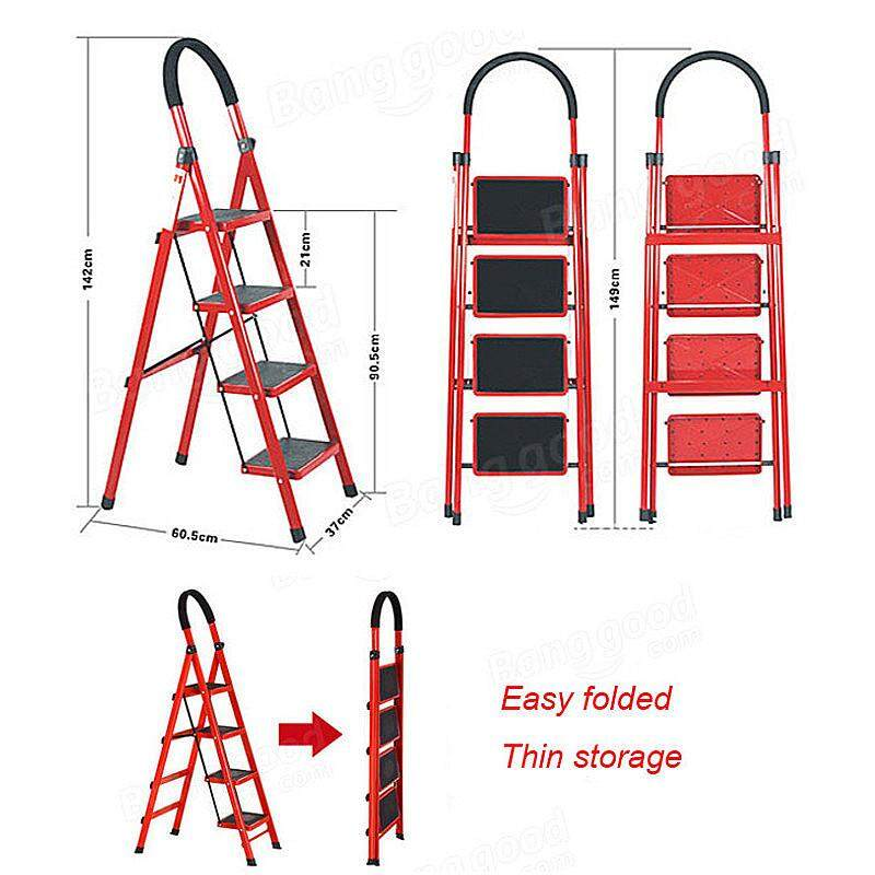 4 Steps Folding Aluminum Step Ladder with Long Handrail Rubber Feet ABS Plastic - intl