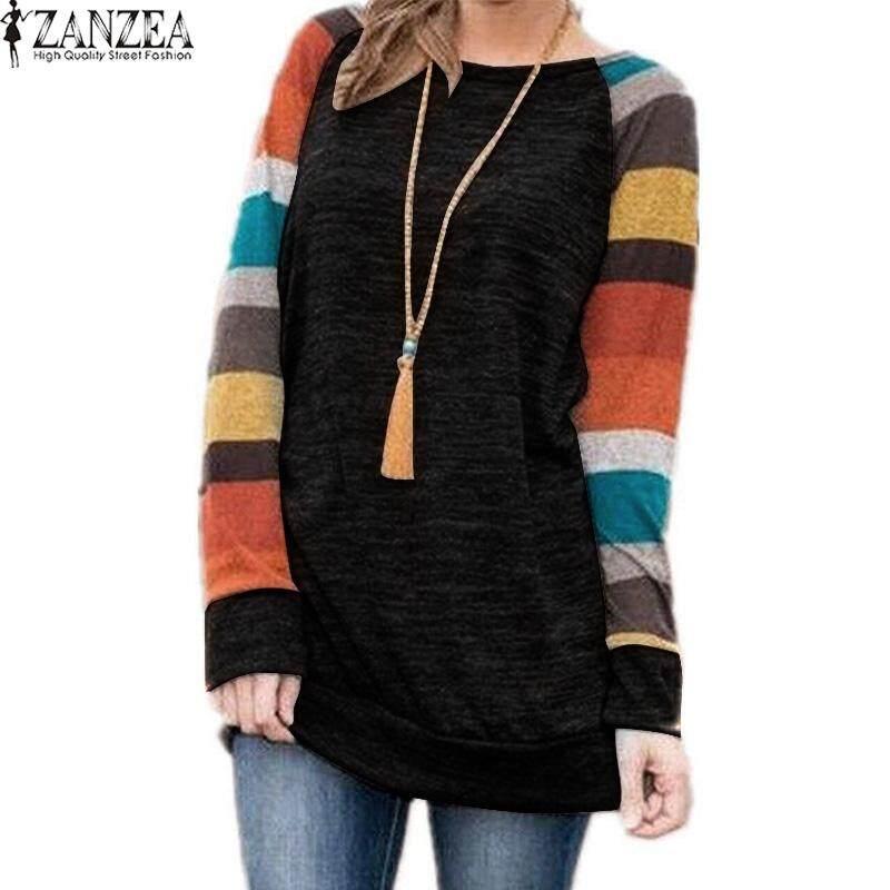 ZANZEA Women Long Sleeve Loose Jumper Top T Shirt Plus Size Tunic Blouse Black