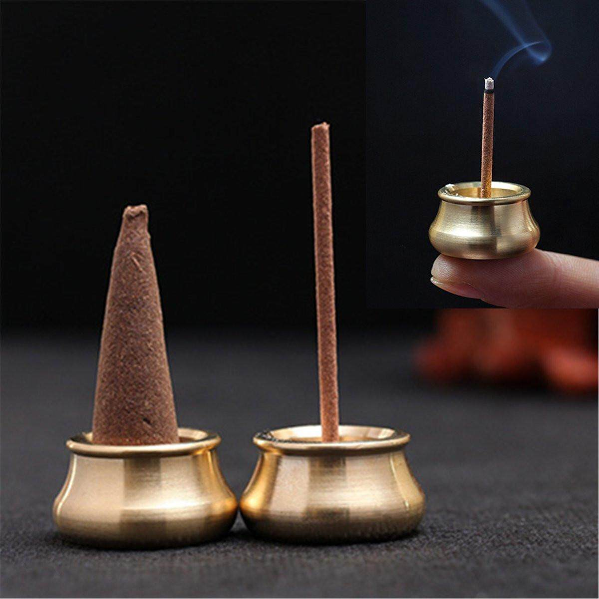Stick Incense Burner Brass Bowl Holder Cone Plate Censer Tower Home Decoration By Glimmer.