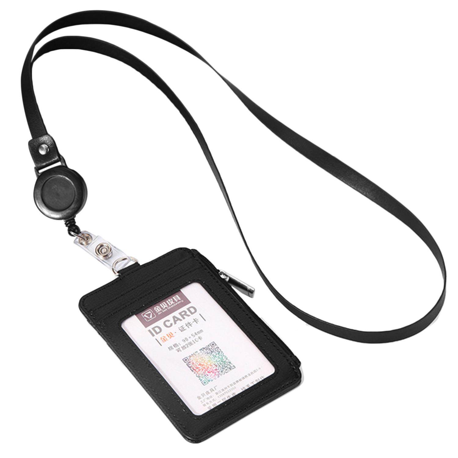 5d009610bc4e Multi-functional PU Leather ID Card Badge Holder Protector Case Cover Wallet  with 5 Card