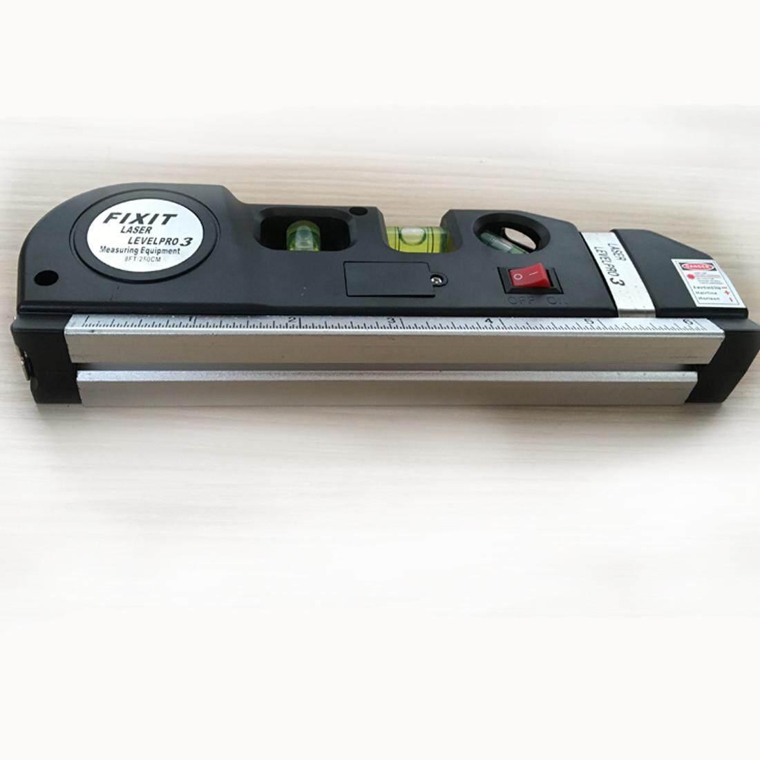 Tingkat Laser Garis Vertikal Pita Horisontal Penggaris Ukuran Tester Kit Pengukur-Intl .