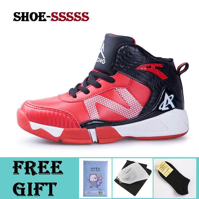 Anak-anak Sepatu Basket Luar Ruangan Tahan Air Sneakers Kasual Modis Hook    Loop Tinggi c081b3e8ba