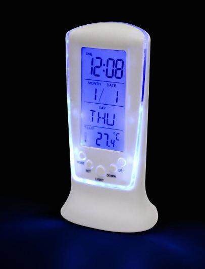 DIGITAL LED ALARM SNOOZE THERMOMETER CALENDAR CLOCK