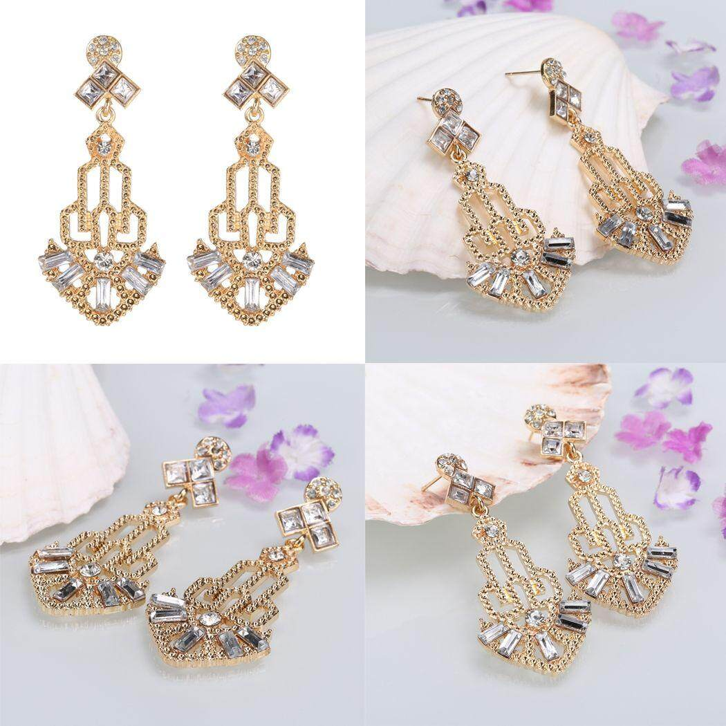 1920s Vintage Style Rhinestone Hollow Out Dangle Earrings By Etop Store.