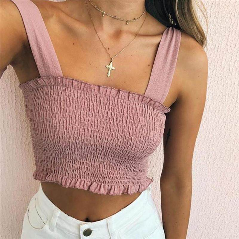 Ishowmall Women Casual Summer Sleeveless Off-Shoulder Tank Crop Tops - Intl By Ishowmall.