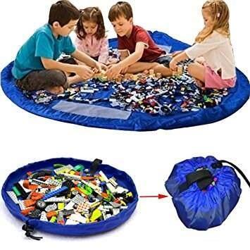 (Blue Colour)150cm Kids Baby Play Mat Large Storage Bags Toys Organizer Blanket