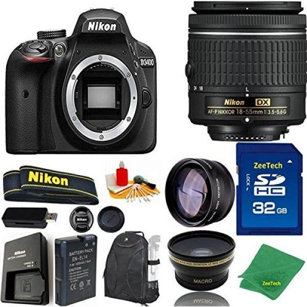 Nilai Yang Bagus Bundle untuk D3400 DSLR-18-55 Mm AF-P + 32 GB Memori + Wide Angle + lensa Telefoto + Ransel