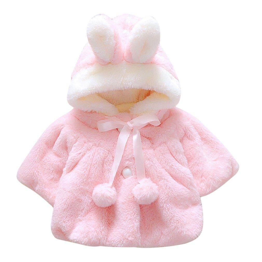 Oh Bayi Bayi Perempuan Bulu Menebal Hangat Mantel Dengan Topi 70 Cm By Ohbuybuybuy.