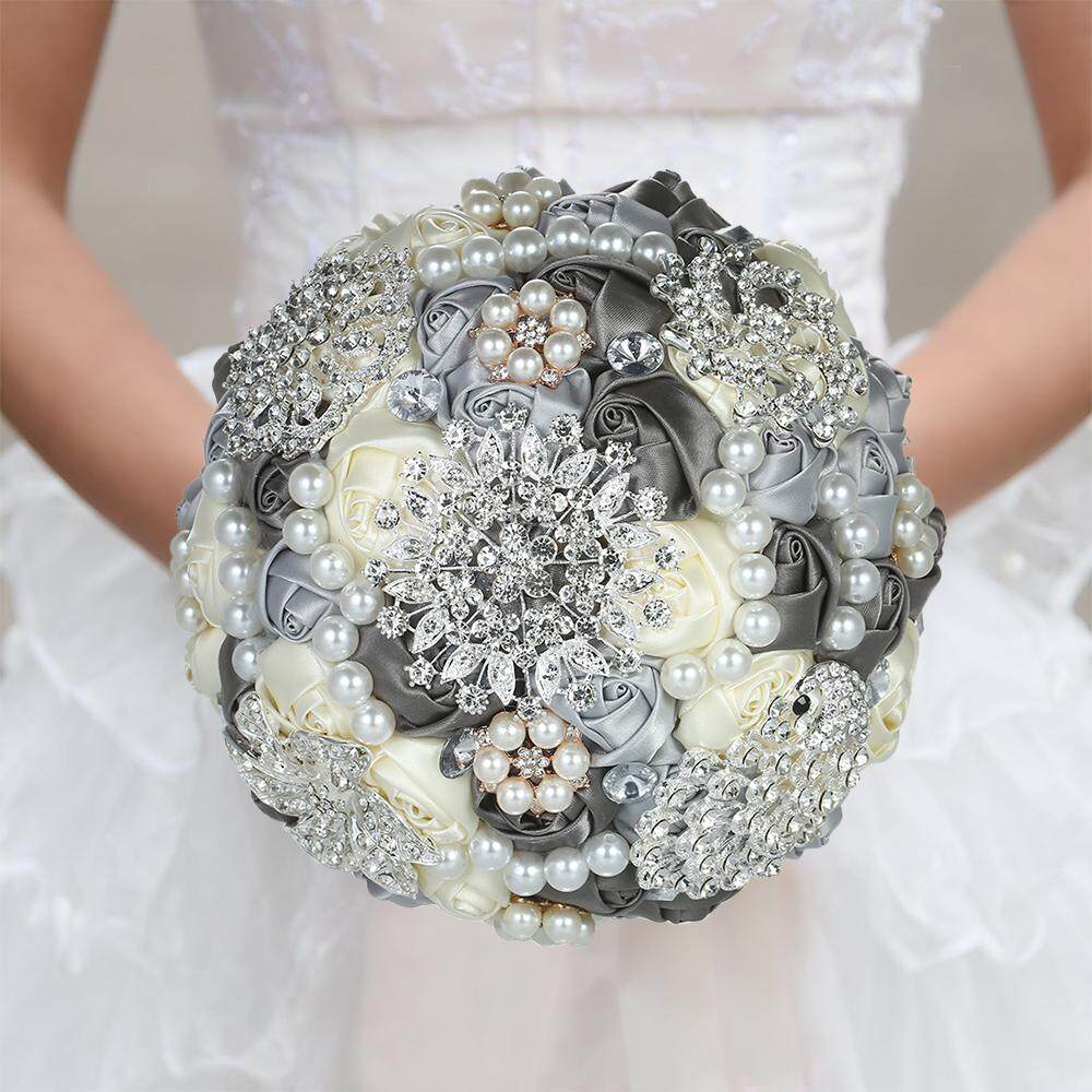 18cm Handmade Wedding Brooch Diamond Bridal Bouquet Satin Rose Flower with Rhinestone Artificial Pearls Beads Decorated for Bride Wedding Supplies - intl