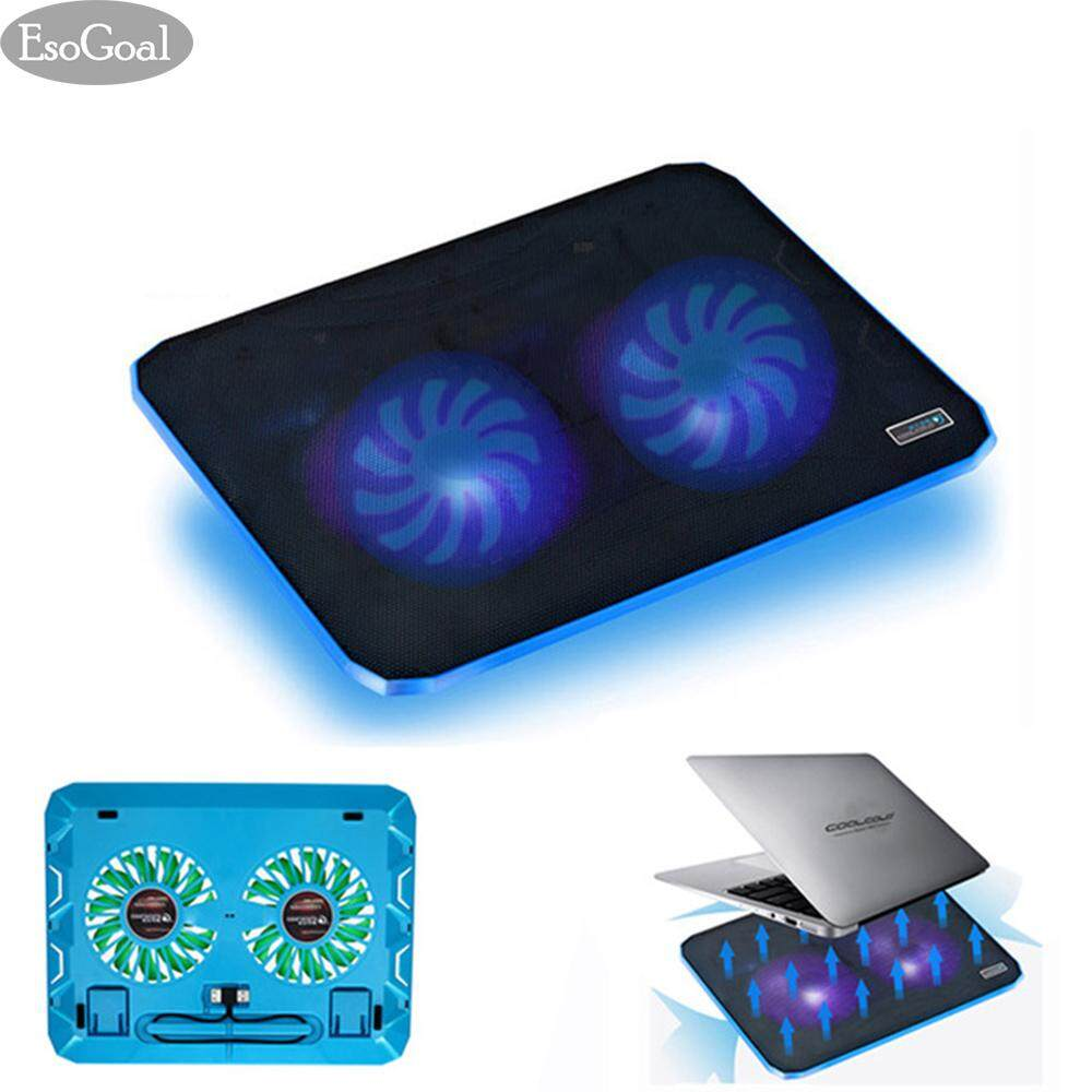 EsoGoal Laptop Cooling Pad, Ultra Slim Laptop Cooler Lightweight Chill Portable Notebook Mat with 2 Heavy Duty Fans USB Powered with LED Lights for 10 - 15 Notebook Computer Malaysia