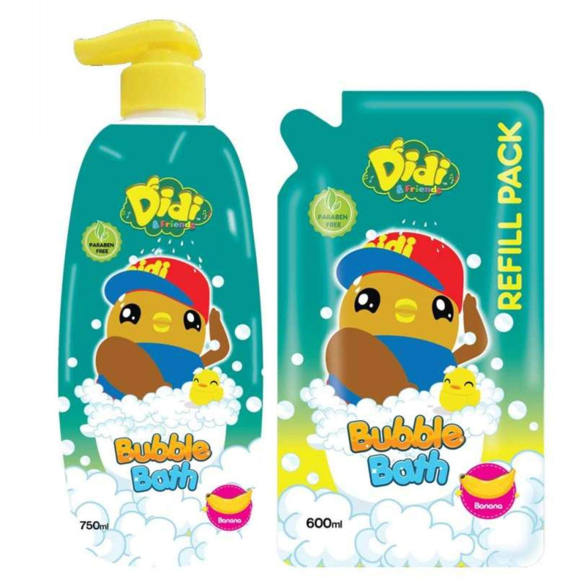 Didi & Friends Head To Toe Wash 750ML With Refill Pack 600ML Set - Banana Flavour