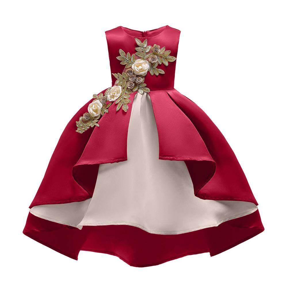 fe89817adf92 Children Girl Embroidery Princess Dress Wedding Party Flower Girl Formal  Dress for Kids