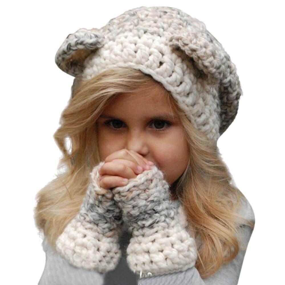 Tideshop อบอุ่นเด็กฤดูหนาวนกฮูกน่ารักหมวกถัก Hood หมวกผ้าพันคอสำหรับฤดูใบไม้ร่วงฤดูหนาว By Tideshop