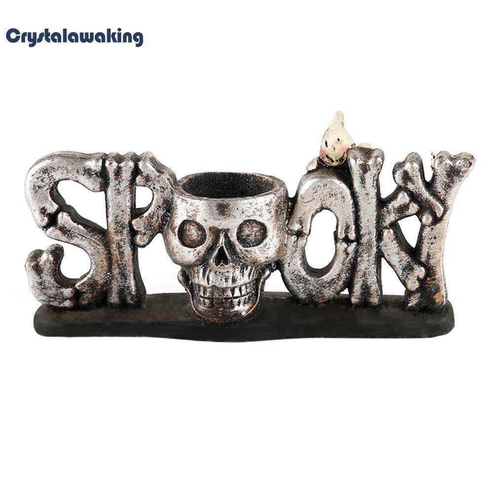 Creative Halloween Personality Home Decoration Resin Skull Ashtray Candlestick By Crystalawaking.