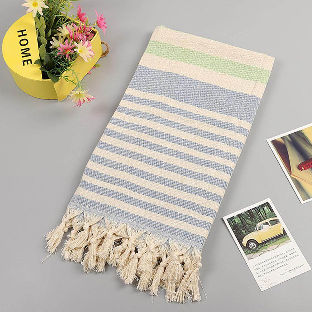 Super Soft For Holiday Outdoors Travel High Absorption Sunscreen Large Tassel Striped Cotton And Linen Beach Towel
