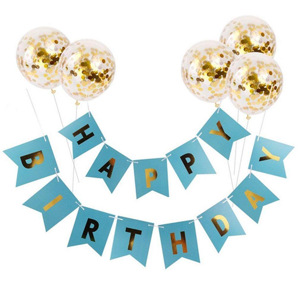 Outflety Happy Birthday Banner With 5 Pieces Gold Confetti Dots Balloons, Flag Garland Fit, Latex Balloon Party Supplier,birthday Party Decorations By Outflety.