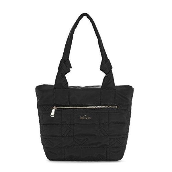 Kipling Womens Lipe Quilted Tote Bag One Size Black Plaid Combo
