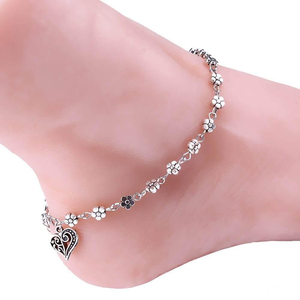 Women Silver Bead Chain Anklet Ankle Bracelet Barefoot Sandal Beach Foot