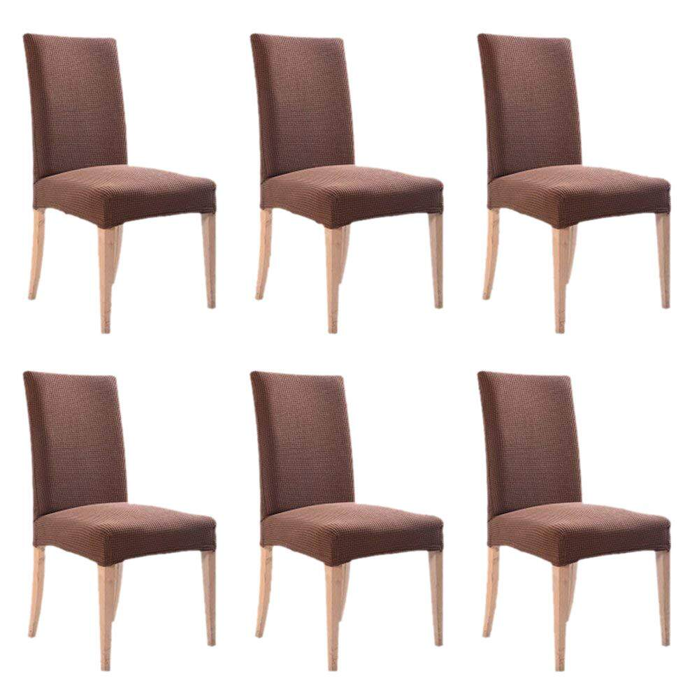 6PCS Dining Chair Cover Stretch Jacquard Polyester Spandex Fabric Dining Chair Covers Removable Washable Chair Slipcovers (Pack of 6, Brown) Free Shipping