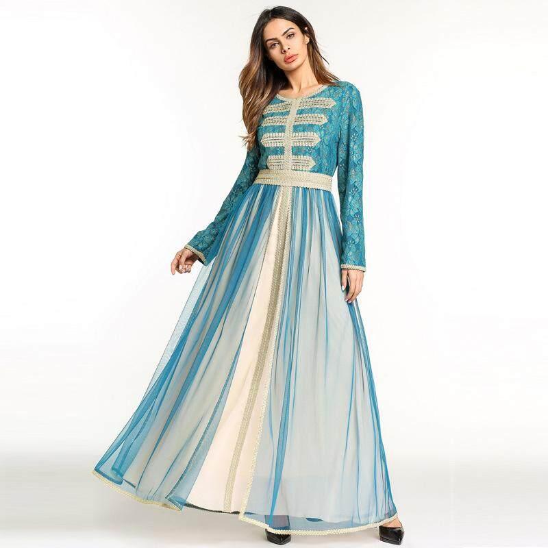 Female New Lace Chiffon Patchwork Embroidery Abaya Malaysia Muslim Women Palace Style Party Dresses Arab Evening Gown