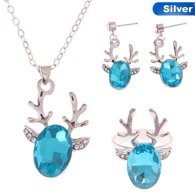 Linfang Mode untuk Wanita Lucu Tanduk Liontin Kristal Kalung Bagus Anting-Anting Cincin Perhiasa Butik