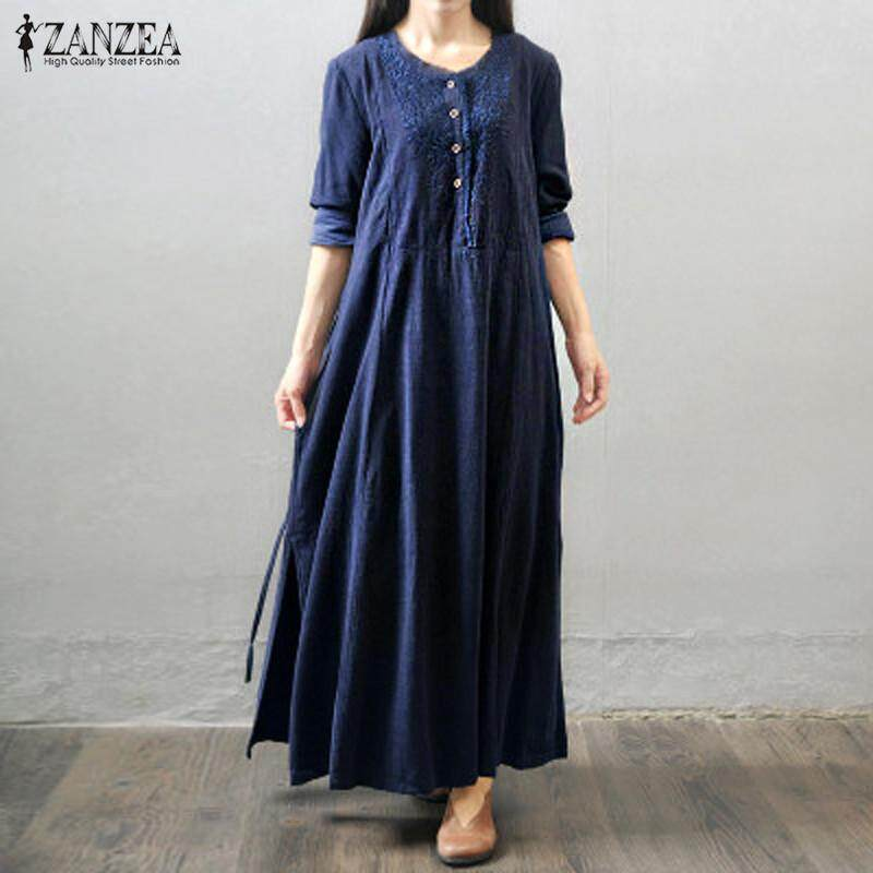 dc58ba4c40899 VONDA 2018 Maternity Clothing Casual Loose Maxi Long Dress Pregnant Women  Long Sleeve Solid Pregnancy Dresses