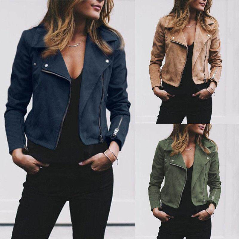 9377cfb07 Women's Ladies Leather Jacket Flight Coat Zip Up Biker Casual Tops Clothes