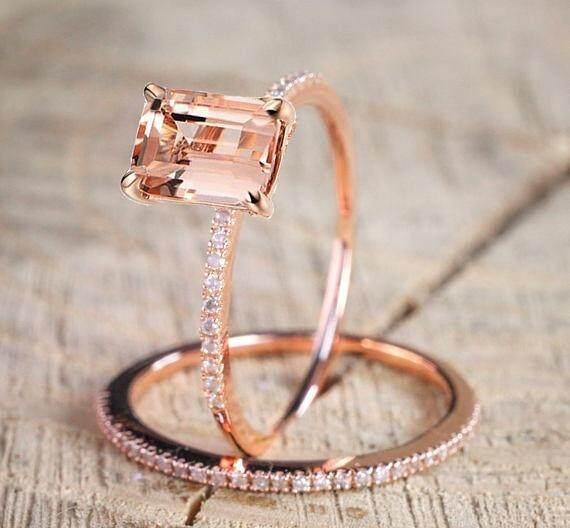 Layak untuk Membeli Indah 18 K Mawar Emas Cincin Bunga Set Slim Putri Morganite Baru Ulang Tahun Hadiah Lamaran Berlian Bening Perhiasan Pesta Ulang Tahun cincin Kawin Tunangan Ukuran Cincin 6 7 8 9 10 (9) -Intl