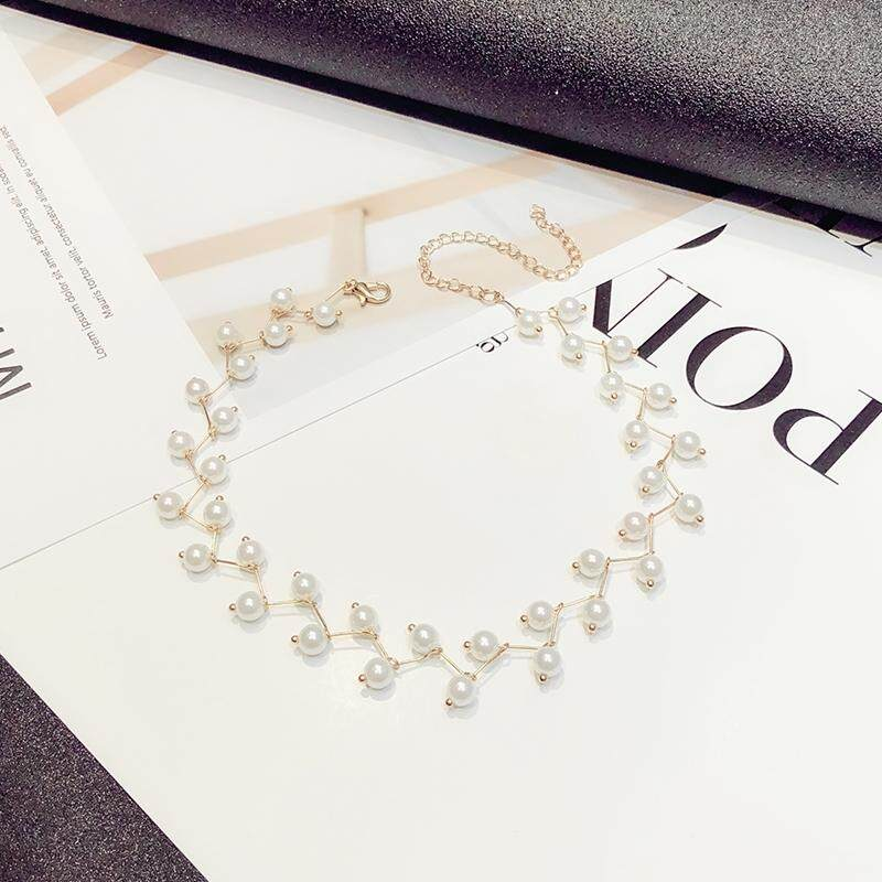 【Rantai emas mutiara putih】2018 kalung mutiara Korea baru versi Korea perempuan dari Sen mahasiswa sederhana pendek leher seksi perhiasan rantai klavikula chocker