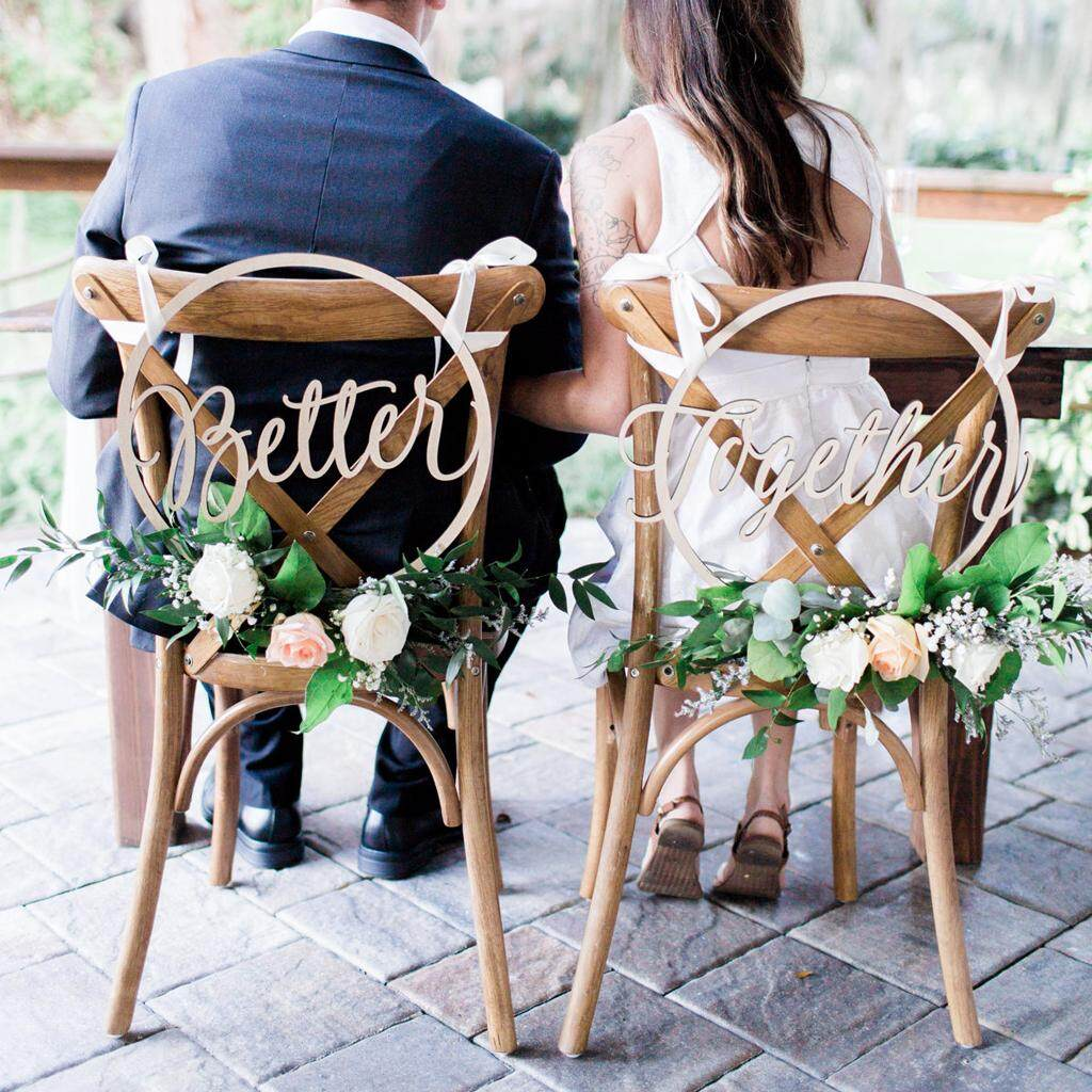 BolehDeals 2pcs Round Better Together Letters Wooden Chair Banner Sign Wedding Engagement Party Decorations Photo Prop