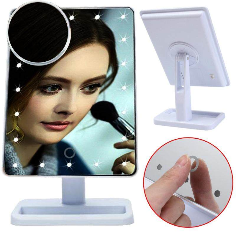 20 LEDs Touch Light Illuminated Make Up Cosmetic Bathroom Shaving Vanity Mirror White - intl