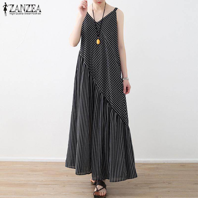 35c38b3bf1 ZANZEA Women Spaghetti straps Backless Jumpsuit Wide Legs Stripe Romper  Playsuit Plus