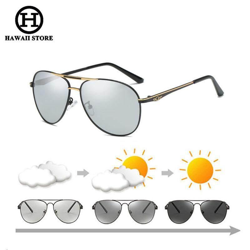 Hawaii Kacamata Fotokromik Pria Terpolarisasi Vintage Pria Pilot Hitam Kacamata Pengemudi Kacamata Cermin Menyetir Lentes dari Matahari Hombre-Intl