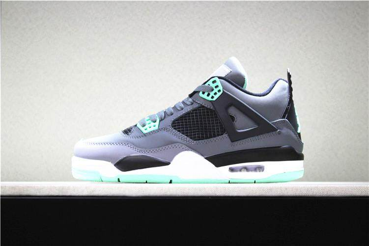 "Nike Asli Stiker Michael Jordan 4 AIR JORDAN Pria Basketaball Sepatu AJ  ""Semen Hitam"" Sneakers MJ Hitam Abu-abu 423a6af274"