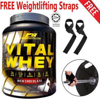 Whey Protein Halal - Vital Whey 2kg/4.41lbs, 100% Whey Isolate With 24g Protein, 67 Servings - Fast Muscle Recovery (Chocolate Milkshake) + FREE FREE Bodybuilding, Weightlifting and Gym Wrist Strap (1 Pair)