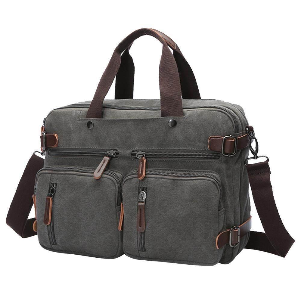 goges Laptop Backpack,Hybrid Multifunction Briefcase Messenger Bag With Shoulder Strap For Men,Women (Grey) - intl