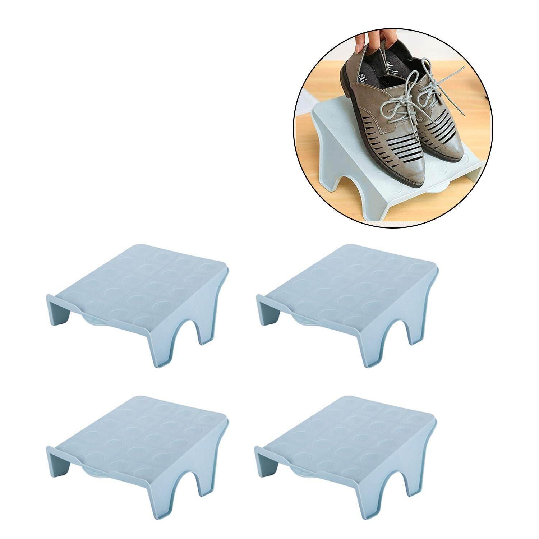 4 PCS Dual Place Modern Shoe Organizer Footwear Shelf Support Slot Space Saving Shoe Storage Rack Mixed Colors - intl