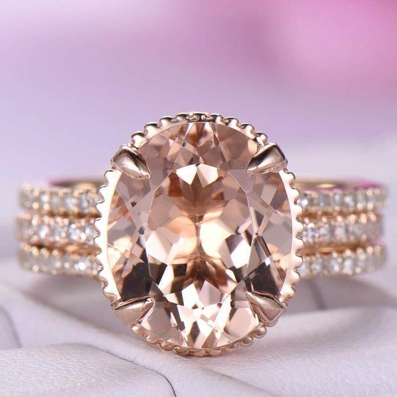 Sang trọng Màu Champagne Cubic Zircon Nhẫn Đồng Hoa Hồng Mạ Vàng Cưới Ban Nhạc Bộ Nữ 2 trong 1 Nhẫn bộ trang sức
