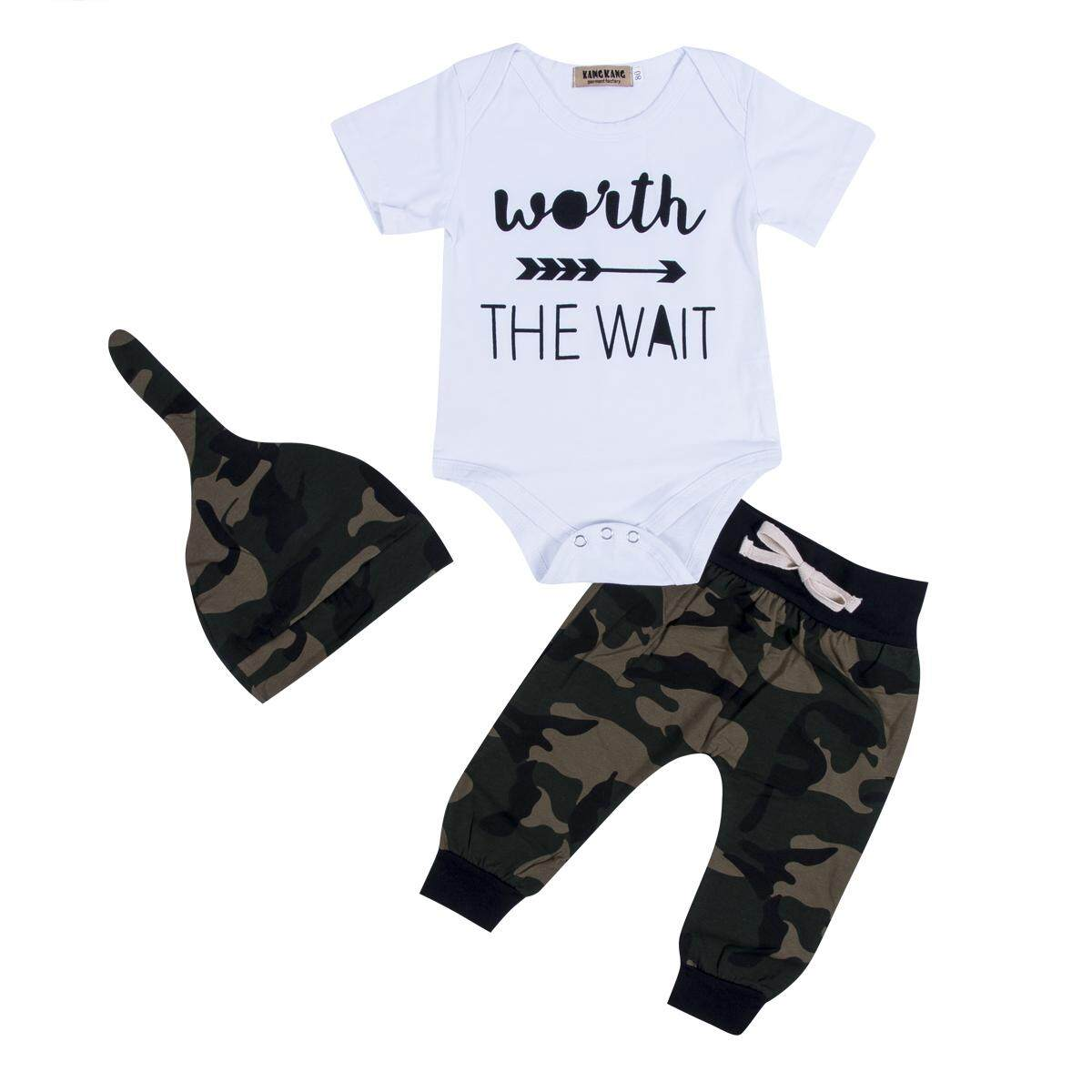 516033e68f619 Camouflage Newborn Toddler Baby Boys Clothes Romper Bodysuit + Pants  Outfits Set